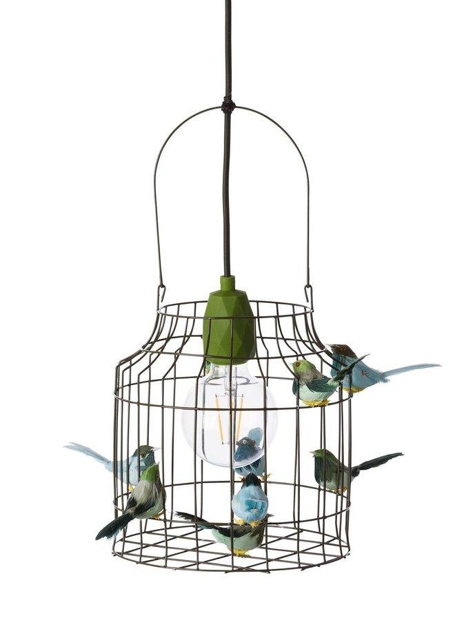 Vogelkooi hanglamp legergroen