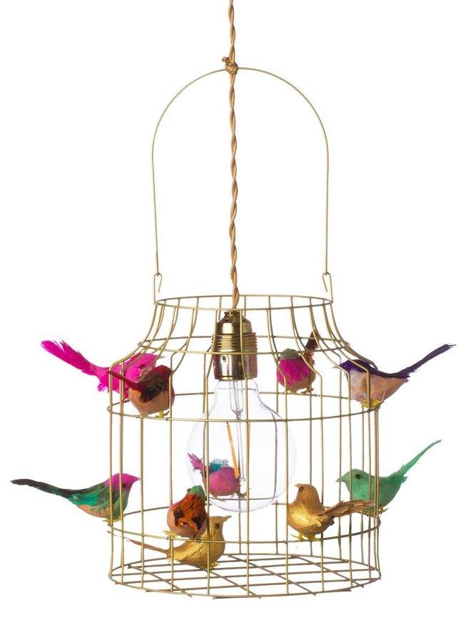 Vogelkooi hanglamp goud multi