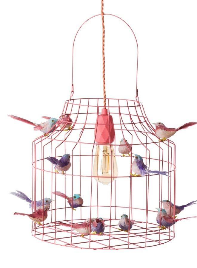 Vogelkooi hanglamp zalmroze