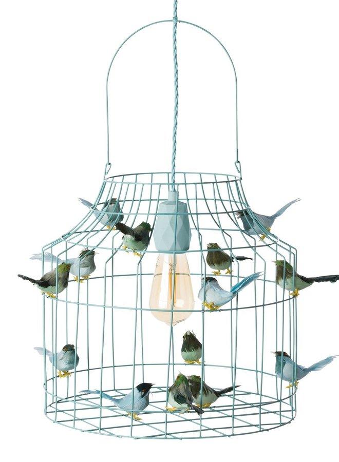 Vogelkooi hanglamp lichtblauw