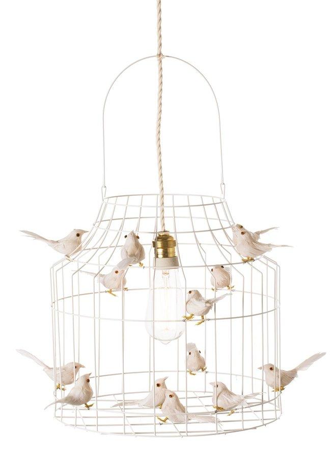 Vogelkooi hanglamp wit