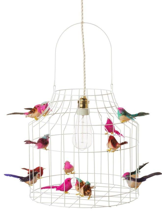 Vogelkooi hanglamp wit multi