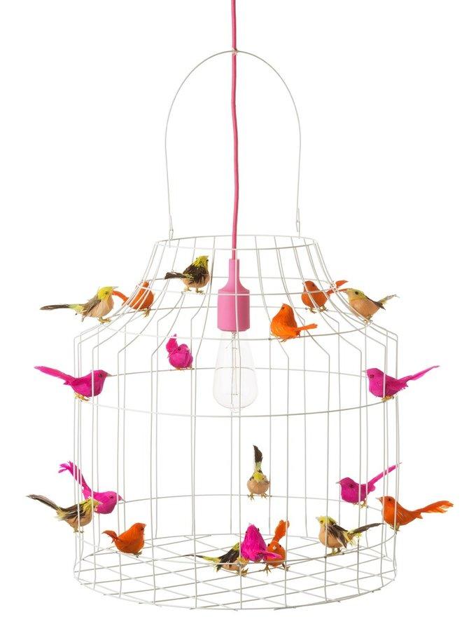 Vogelkooi hanglamp wit neon