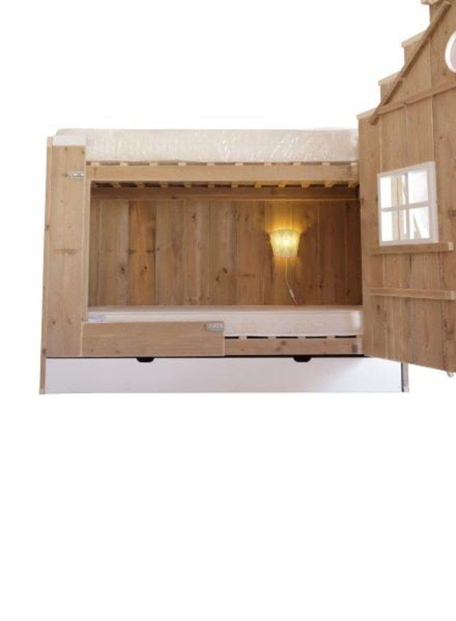 Pakket Vogelhuis Wit, met bedlade incl. 2 matrassen