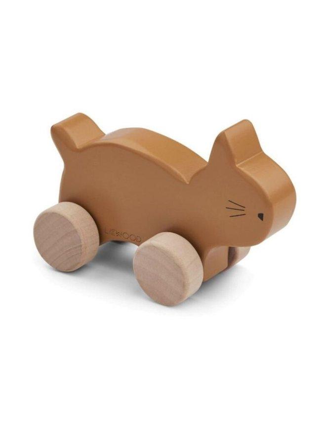 Liewood Elena wood toy cat mustard
