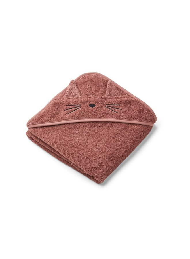 Liewood Albert hooded towel - cat dark rose