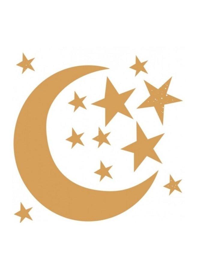 Bibelotte muursticker maan en sterren goud