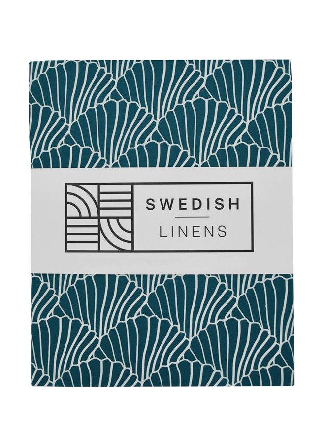 Swedish Linens ledikant hoeslaken seashells moroccan blue