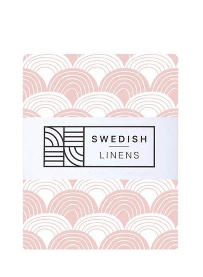 Swedish Linens  hoeslaken rainbows nudy pink 60 x 120