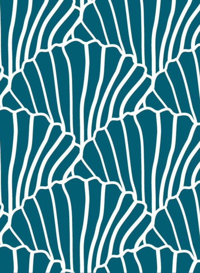 Swedish Linens hoeslaken seashells moroccan blue