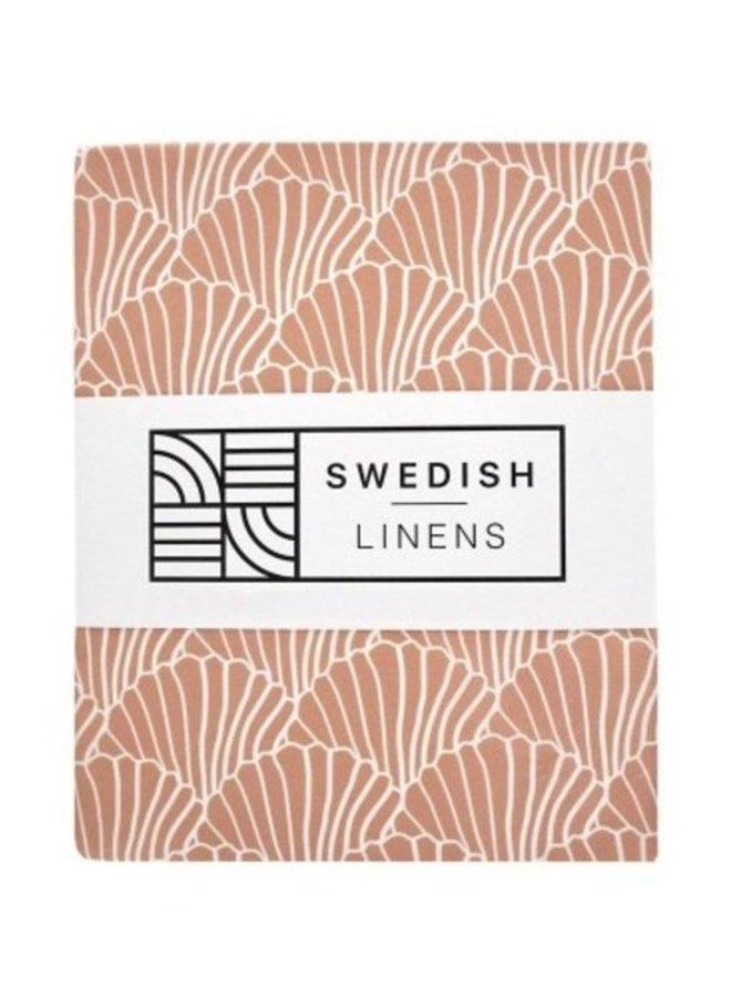 Swedish Linens hoeslaken seashells terracotta pink (90x200)