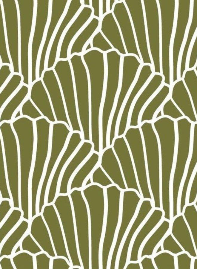 Swedish Linens hoeslaken seashells olive green 90 x 200