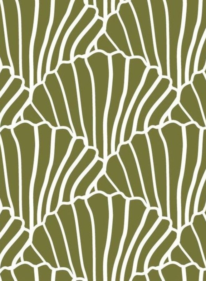 Swedish Linens hoeslaken seashells olive green