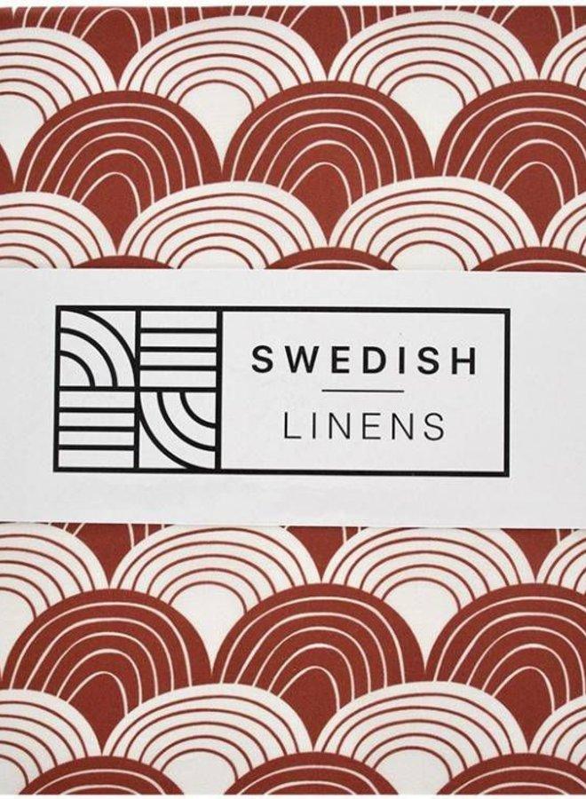 Swedish Linens hoeslaken rainbows burgundy