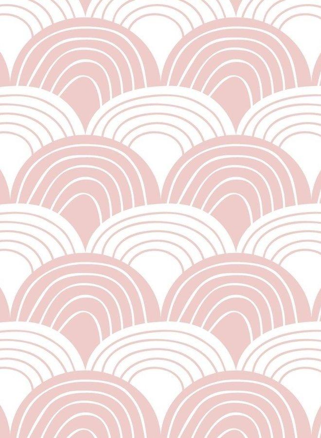 Swedish Linens hoeslaken rainbows nudy pink