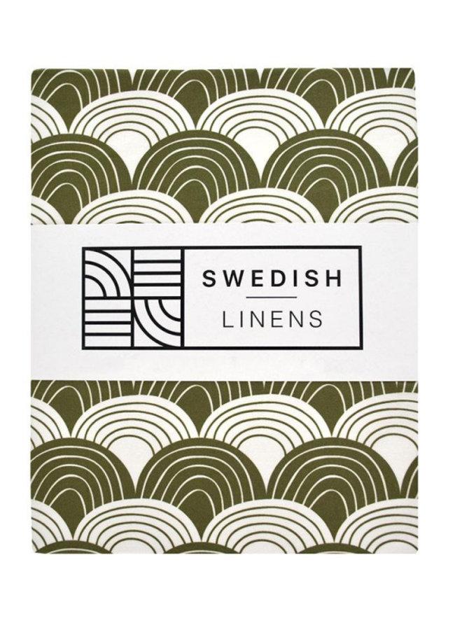 Swedish Linens hoeslaken rainbows olive green