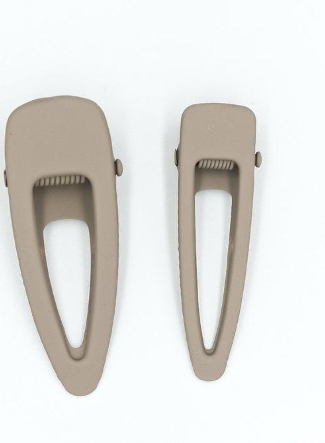 Grech & Co. matte clips set/2 stone