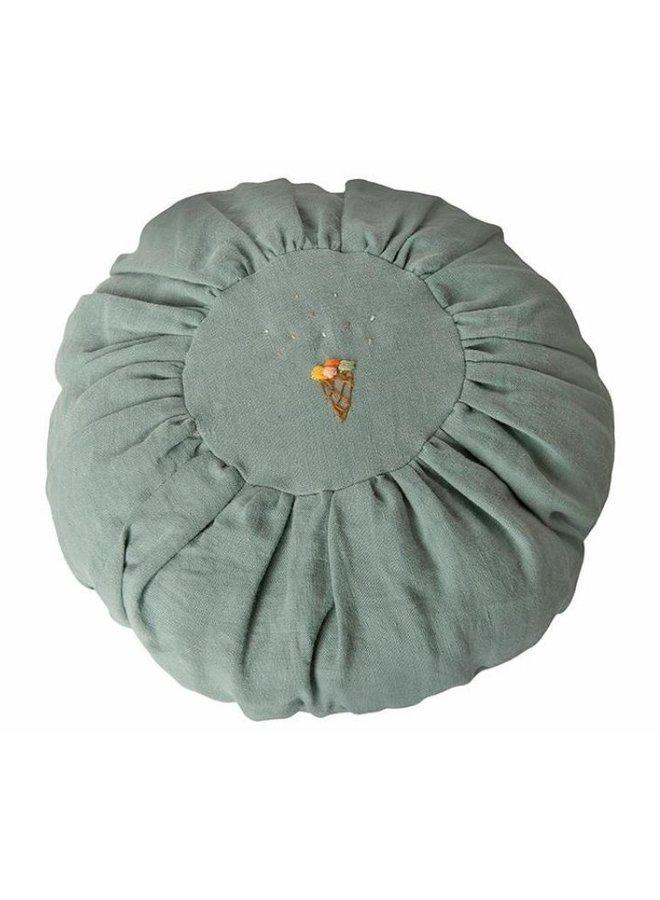 Maileg Cushion, Round - Dusty blue