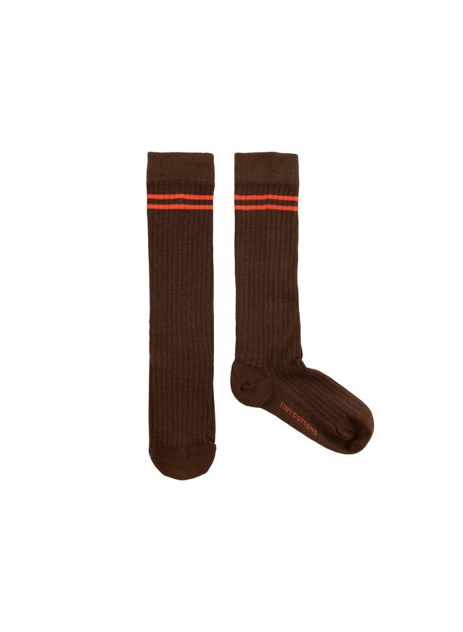 TinyCottons stripes high socks ultra brown/red