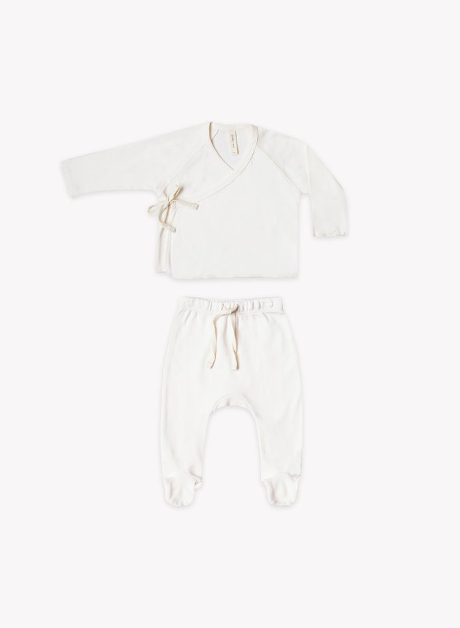 Quincy Mae kimono top en footed pant set ivory