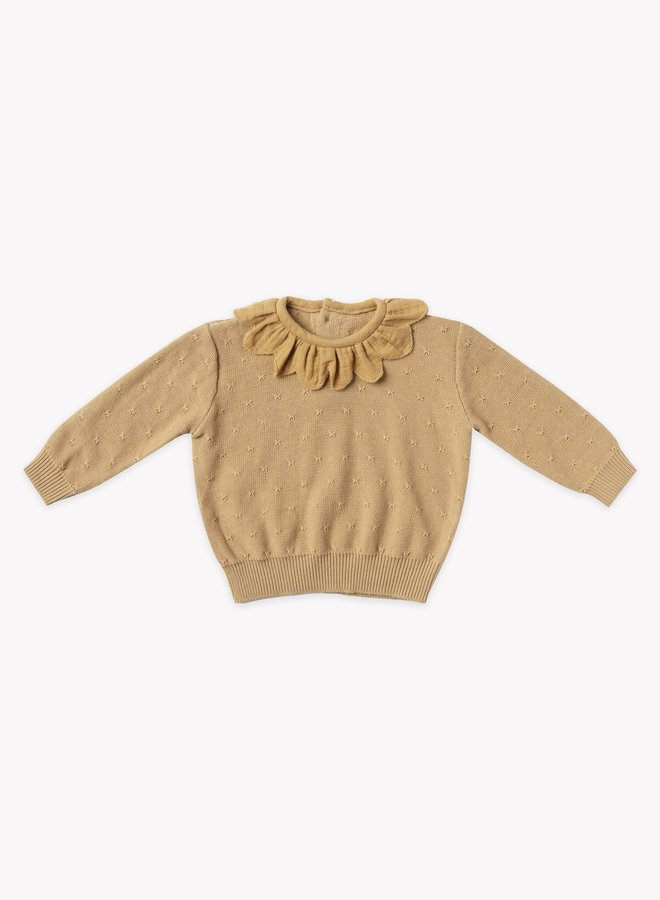 Quincy Mae petal knit sweater honey