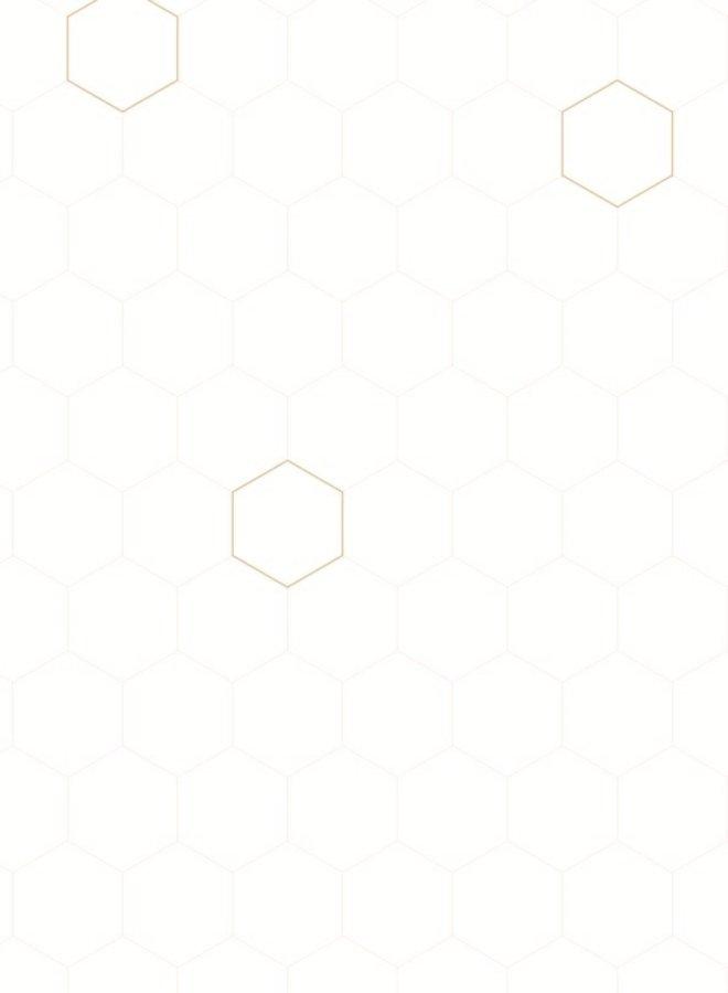 Bibelotte behang Honingraad - wit, nude, brons