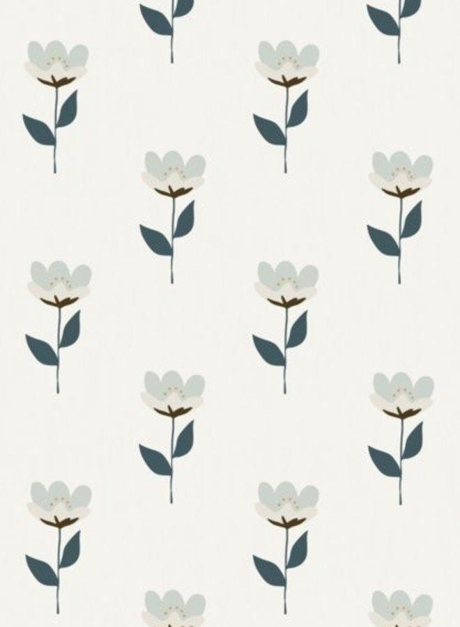 Bibelotte behang Retro bloem - blauw