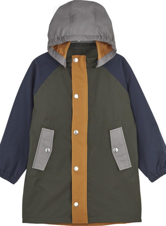 Liewood Spencer long raincoat hunter green multi mix