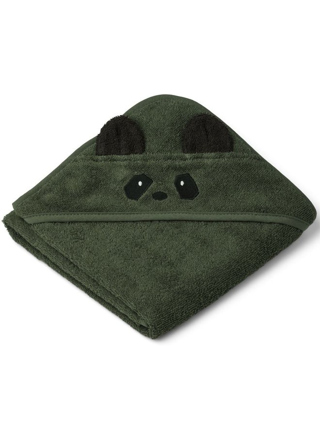 Liewood Albert hooded towel - panda hunter green