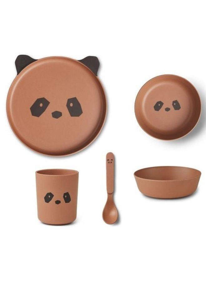 Liewood bamboo serviesset panda tuscany rose
