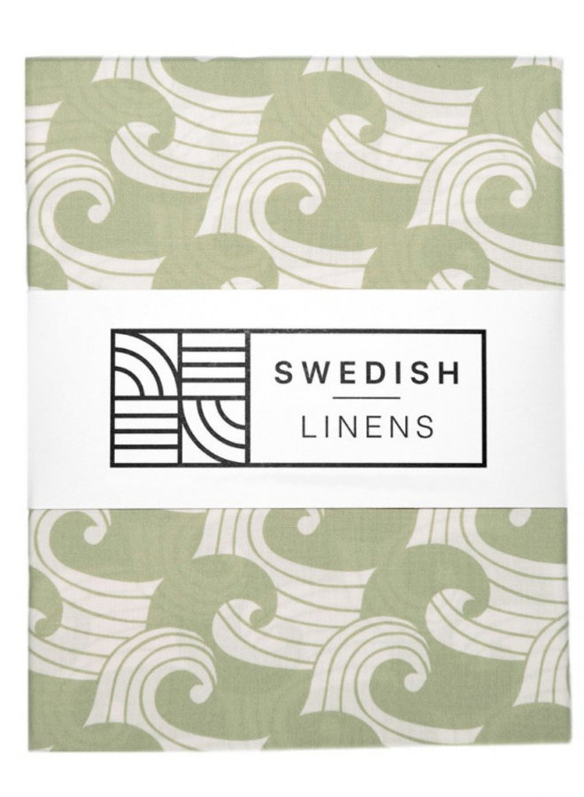 Swedish Linens hoeslaken waves sage green