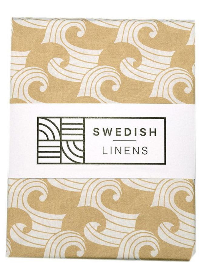 Swedish Linens hoeslaken waves warm sand (90x200)