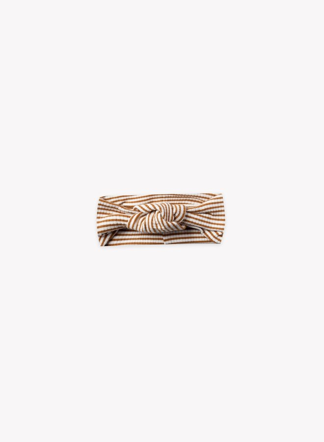 Quincy Mae ribbed turban walnut stripe 0-12 m
