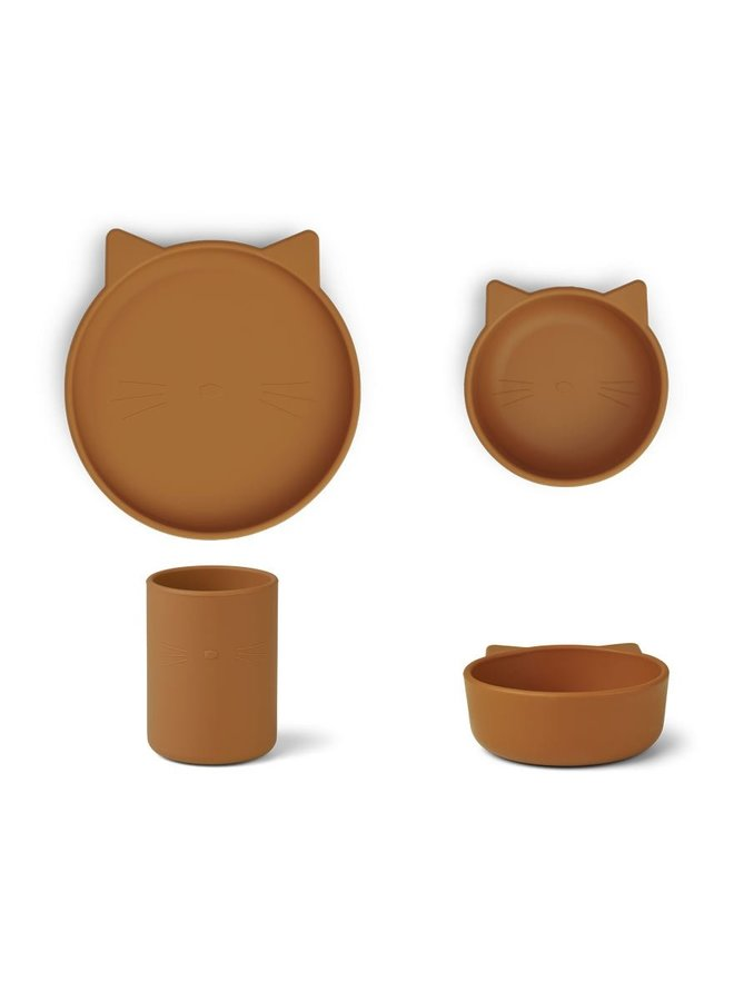 Liewood silicone junior set - cat mustard