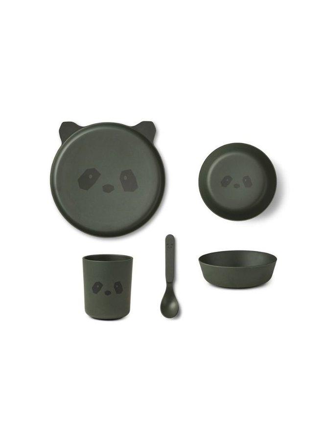 Liewood bamboo serviesset panda - hunter green