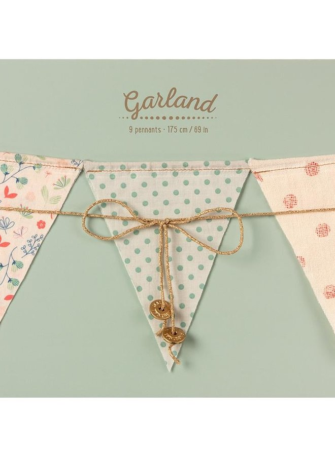 Maileg Garland, 9 flags - multi