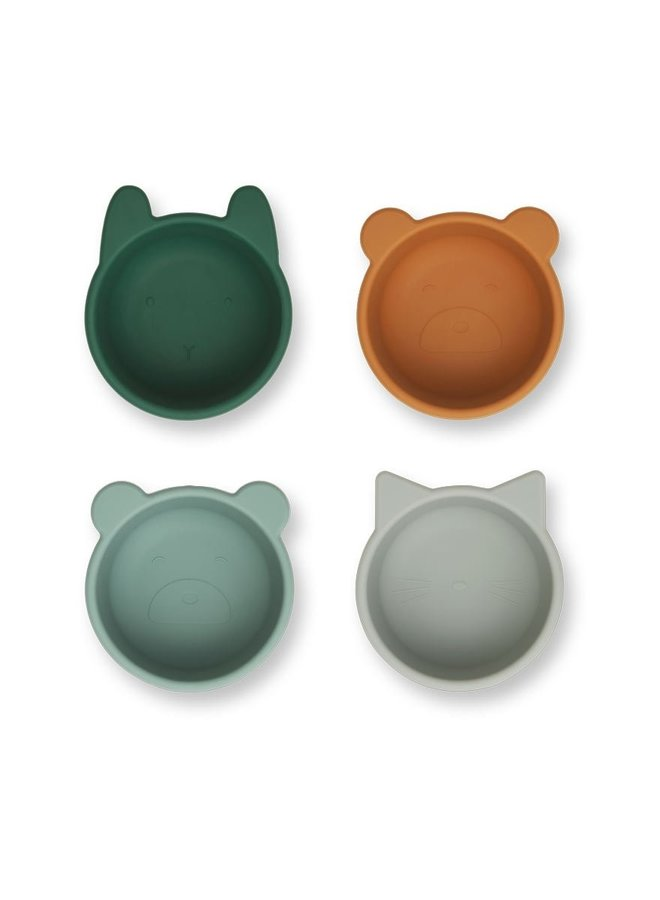Liewood Malene silicone bowl 4-pack green multi