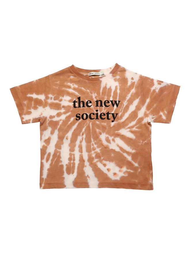 The New Society tee tie dye caramel