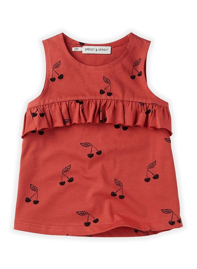 Sproet & Sprout Top Ruffle Print Cherry