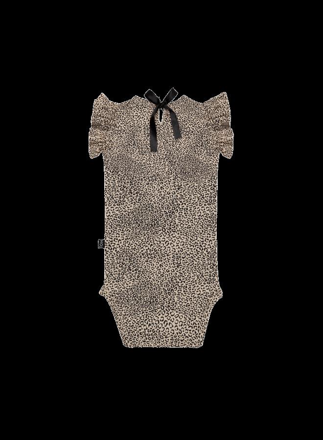 House of Jamie - Ruffled Bodysuit Charcoal Little Leopard