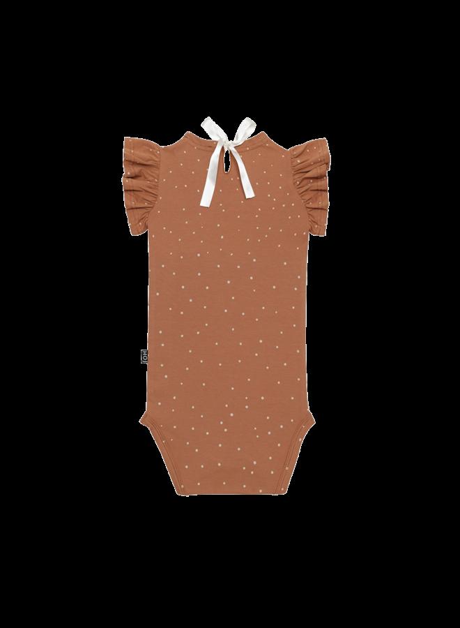 House of Jamie - Ruffled Bodysuit Burnt Ginger Dots