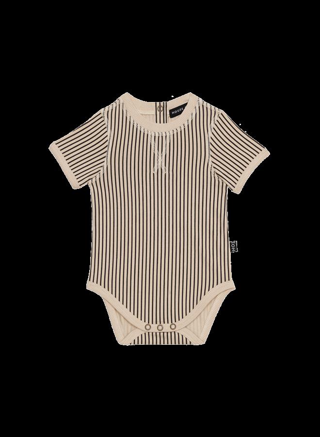 House of Jamie - Crewneck Bodysuit Charcoal Sheer Stripes