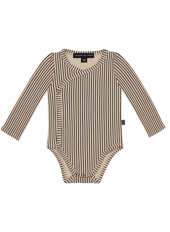 House of Jamie - Wrap Button Bodysuit Charcoal Sheer Stripes