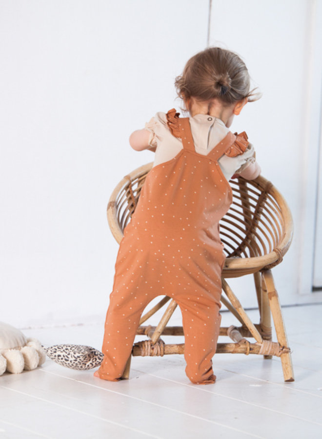 House of Jamie - Baby Girls Dungaree Burnt Ginger Dots