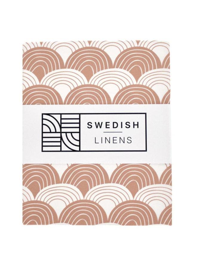 Swedish Linens hoeslaken rainbows terracotta 70 x 160