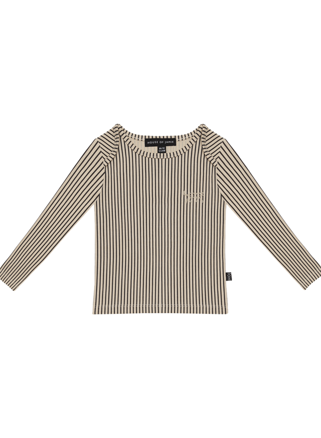 House of Jamie - Long Sleeve Tee Charcoal Sheer Stripes