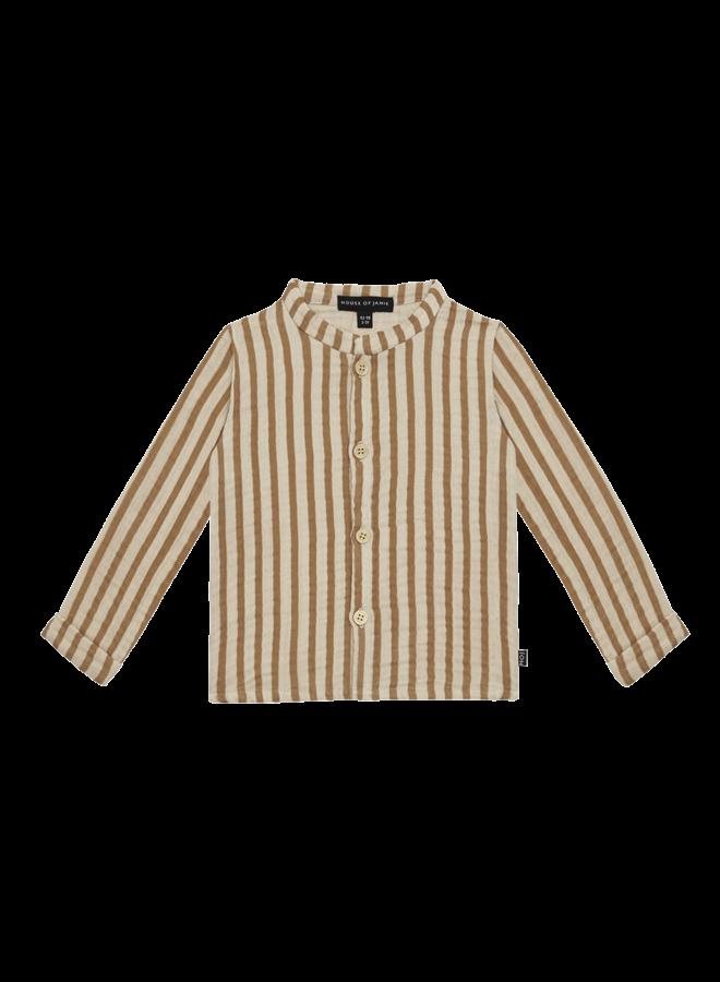 House of Jamie - Boys Collar Blouse Vertical Apple Cider Stripes