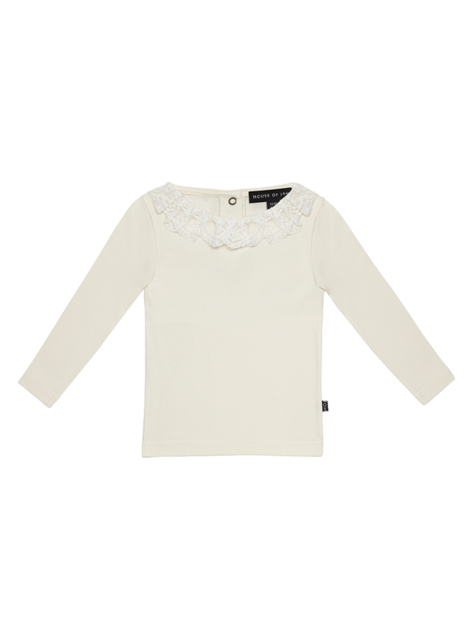 House of Jamie - Lace Collar Tee Cream & Lace