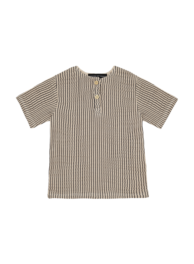 House of Jamie - Henley Shirt Charcoal Sheer Stripes
