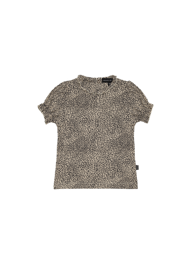 House of Jamie - Puff Rib Schoulder Tee Charcoal Little Leopard